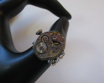 Steampunk Ring Vintage Watch Movement Popular Jewelry, OOAK, Engraved 17 Jewels 58 W, Steampunk,Vintage Watch, Repurposed, Upcycled
