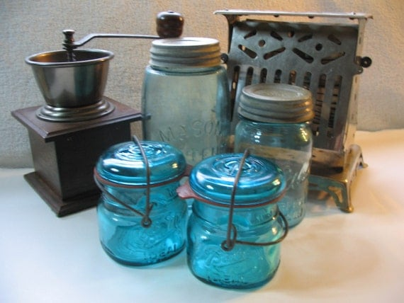 Brilliant Numbered Blue Ball Ideal Jar. Stands 3.5 Inches Tall,  11 Inches in Diameter.  Original Rubber Seal and Wire.