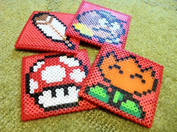 Super Mario Perler Bead Coaster Set