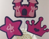 Princess Theme Crown Castle Wand Cupcake Toppers Pink Purple