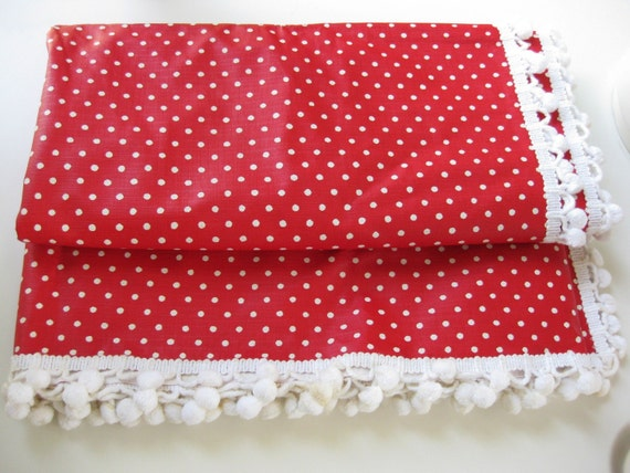 Vintage vinyl red white polka dot tablecloth pom pom trim for Black polka dot tablecloth