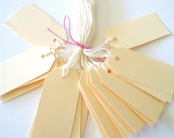 50 - Small Ivory/Cream  PRESTRUNG TAGS - Free Secondary Shipping
