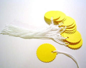 100 -  1 inch Round  Prestrung Cardstock Tags  -  Bright Yellow- Free Secondary Shipping