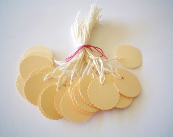 25 -  PrestrungTags - 1 Inch Round Scalloped -Ivory - FREE Secondary Shipping