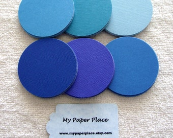 ONE  DOLLAR SALE - 25 - 2 Inch  Cardstock/Paper  Circles - Shades of Blue -Free Secondary Shipping