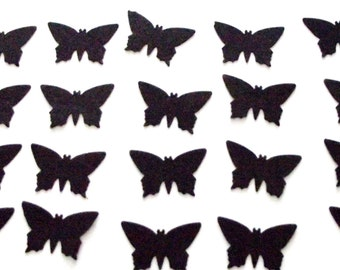 100 -BLACK  BUTTERFLIES - CONFETTI - Free Secondary Shipping
