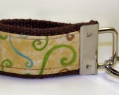 Mini Finger Fob Keychain - Brown with Swirl Design