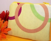 Small Zipper Pouch - Yellow with Colorful Circles
