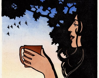 Morning Cup V: Original hand-pulled linoleum block print, with watercolor. Morning, serenity, peace, beauty, and coffee.