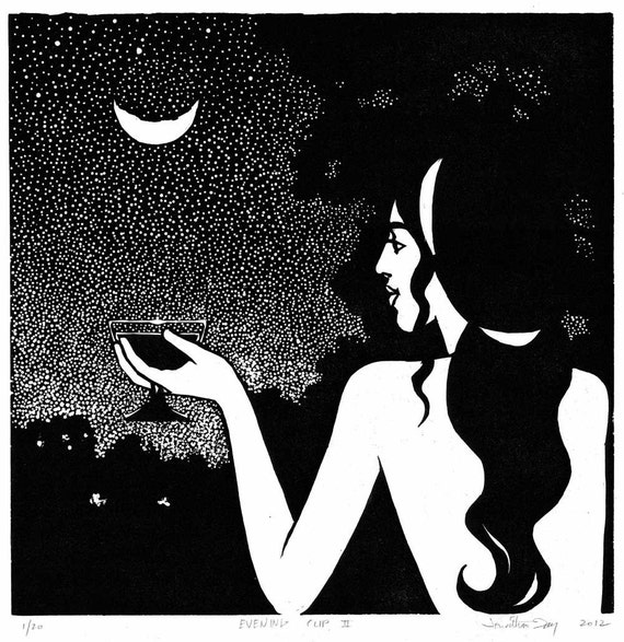 Evening Cup II: Original hand-pulled linoleum block print on Japanese Hosho paper. Beauty, serenity, wine, the moon.