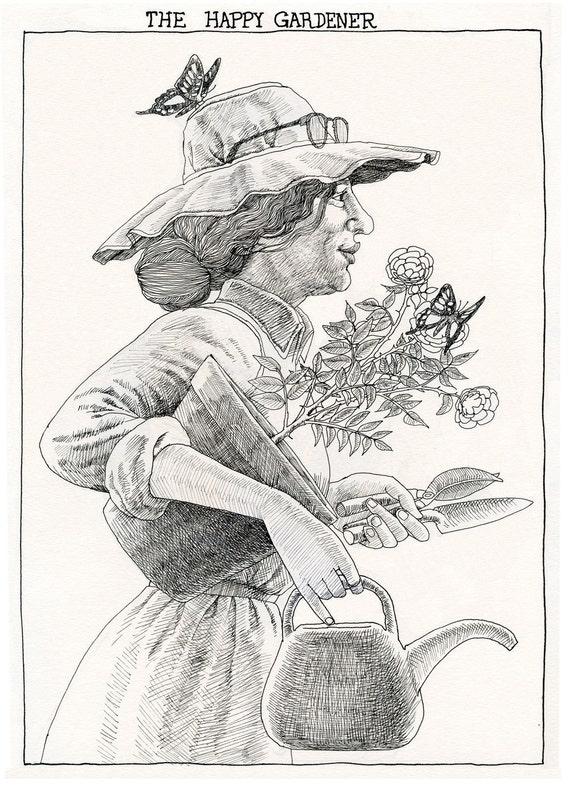 The Happy Gardener. Art print of original pen and ink drawing.