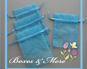 Light Blue Organza Bags - Set of 30 Bags - 4x5inch