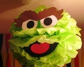 "Green Monster tissue paper pompom kit, inspired by ""Oscar the Grouch"" from Sesame Street"
