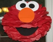 "Red Monster tissue paper pompom kit, inspired by ""Elmo"" from Sesame Street"