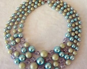 SALE Mid Century Four Strand Vintage Frosted Bead Necklace