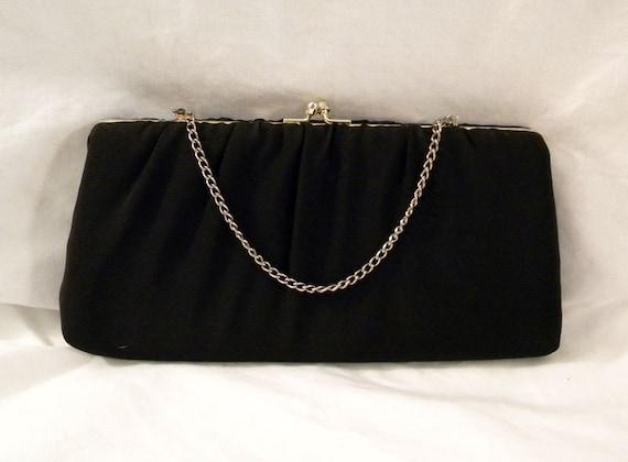 Vintage Mid Century Black Fabric Clutch Evening Bag
