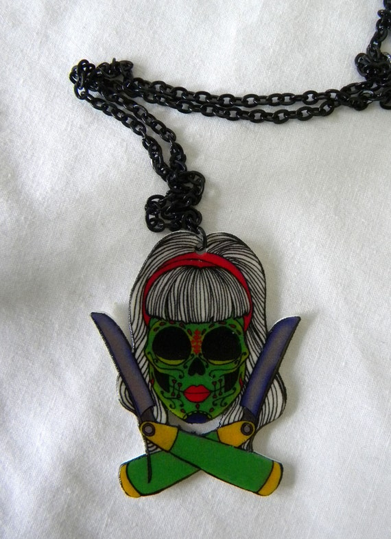 Switchblade Sugar Skull Zombie Pendant Necklace