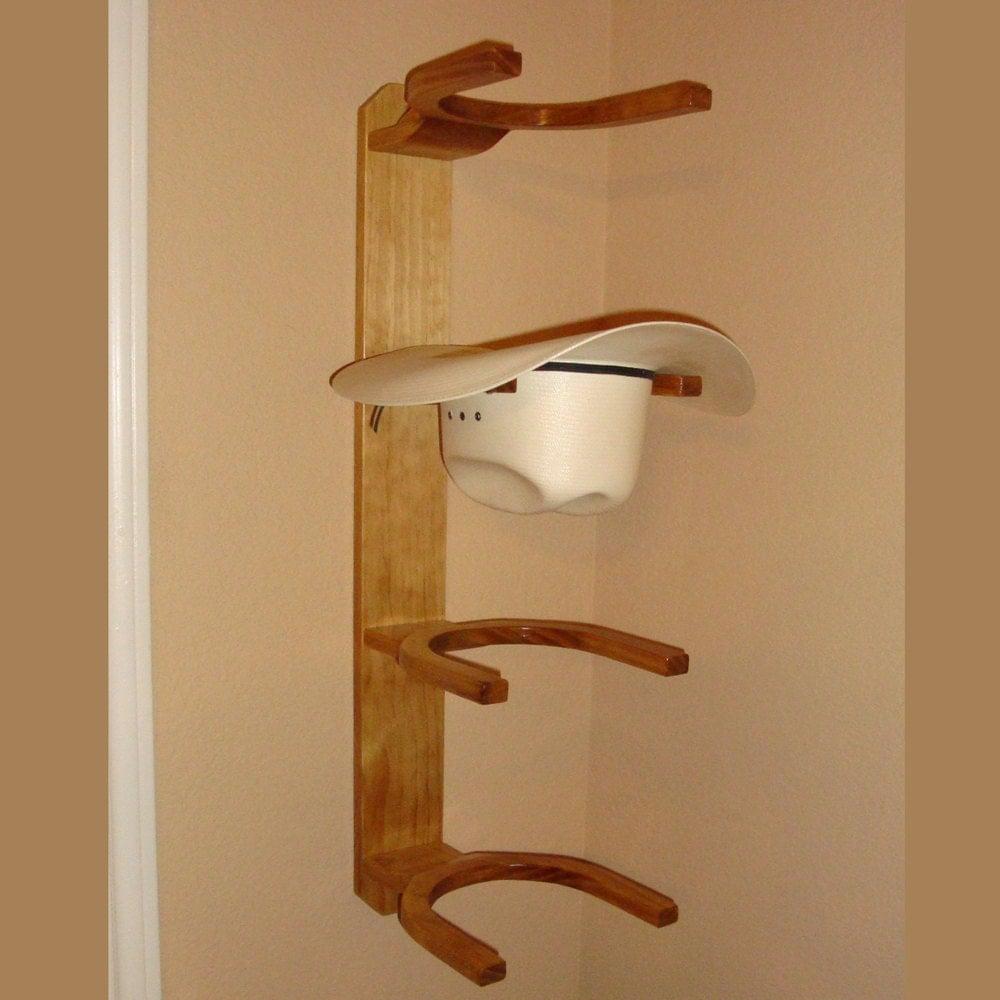 wooden cowboy western hat rack 4 hook horizontal wall by