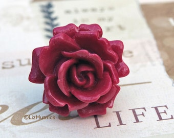 Big Red Rose Ring. Adjustable Statement Ring. Big Flower Ring. Boho Chic.