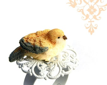 Bird Ring, Adjustable, White Filigree Ring. Novelty Ring