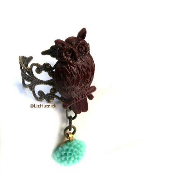 Owl and Teal Flower Ring. Charm Ring. Novelty Ring. Adjustable Ring