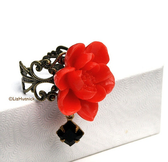 30% OFF Sale - Use coupon code FBS30 - Gothic Red Rose Ring - Adjustable Ring. Flower Ring.
