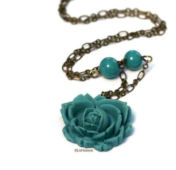 Teal Rose Necklace - Flower Jewelry. Brass and Resin. Romantic. Mermaid.