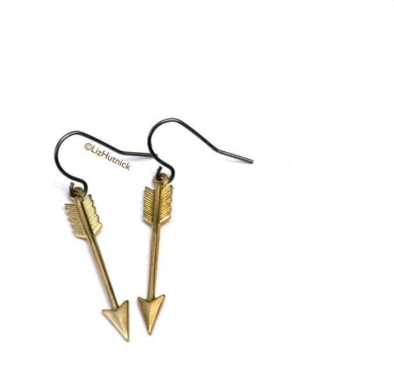 Clearance SALE Brass Arrow Earrings