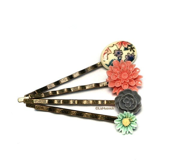 Floral Bobby Pins. Coral. Mint. Gray. Flower Print on Ivory. Hair Accessories