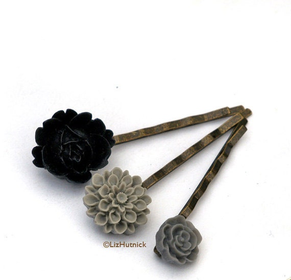Graphite Flower Bobby Pins. Gray to Black