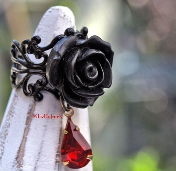 FREE SHIPPING. Goth Rose Ring. Gothic Vamp Ring. Black Rose Ring. Adjustable Ring