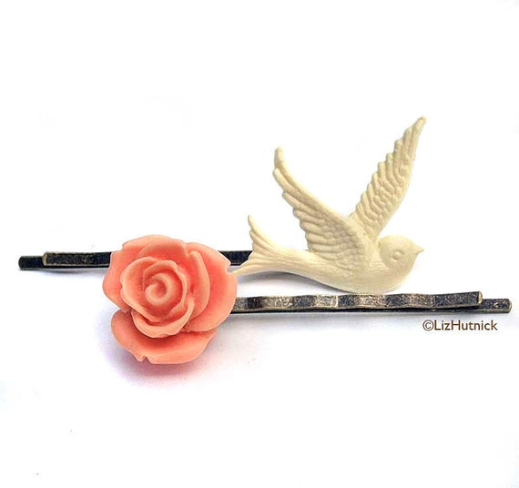 FREE SHIPPING Bird and Rose Bobby Pins. Vintage Romance. Flower and Bird Hair Slides. Hair Accessories. Cyber Monday