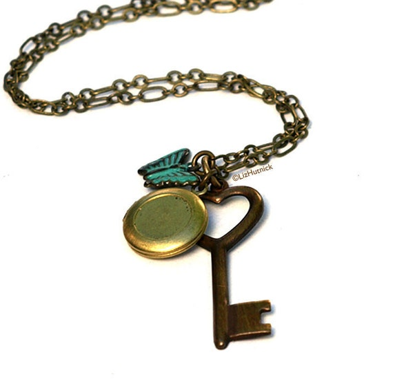 Key to My Heart Necklace - Vintage Mini Locket Teal Butterfly
