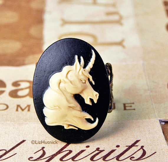 Unicorn Cameo Ring - Adjustable Ring in Ivory and Black. Novelty Ring