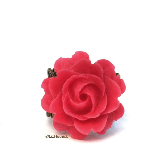 FREE SHIPPING. Red Rose Ring. Adjustable Filigree Ring. Resin Flower Jewelry. Black Friday, Cyber Monday