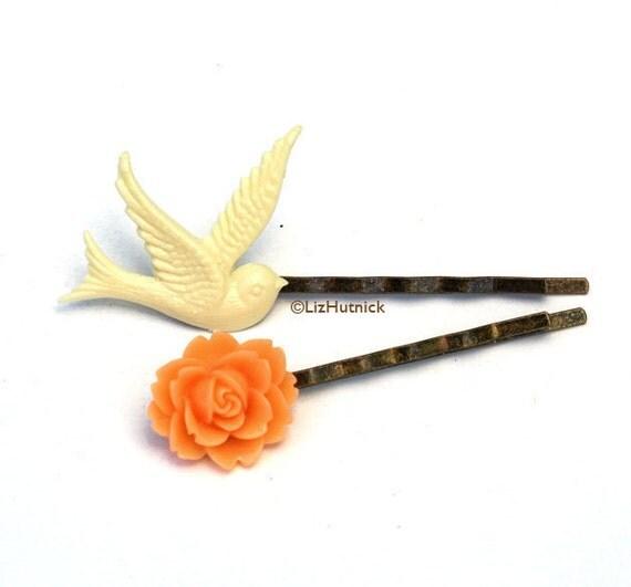 Orange Rose and Ivory Bird Bobby Pin Set. Hair Accessories