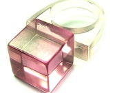 Vintage 80s Lucite Ring . 7 . Pink Lucite Ring . Pink Ring . 80s Ring . 60s Ring . Square . Size 7 . (Free Shipping USA) . Bree's Vintage