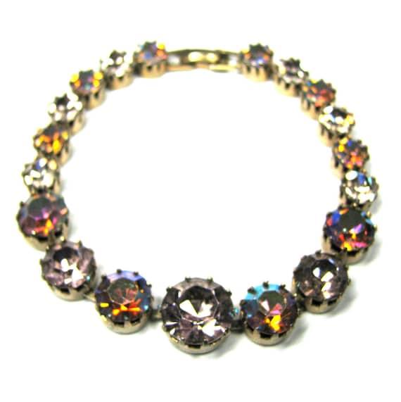 Vintage 50s Crystal Bracelet . AB Crystal . Pink Crystal Bracelet . Art Nouveau Bracelet . Rhinestone Bracelet . 50s Bracelet