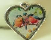 Love Birds Heart Pendant- FREE shipping