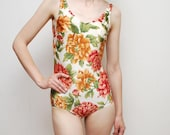 80's tropical FLOWER cocktail swimsuit maillot - small to medium with B/C cup