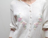 80's ivory slouch knit FLOWER romance cardigan - free size