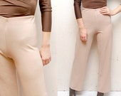 SALE..........80s 90s beige nude stretch PALAZZO pants. bell bottom trousers - small