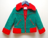 70s teal corduroy CHILDS jacket with fuzzy collar - 4T 3T