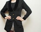 80s black skinny jacket with VELVET lapels - xs, small