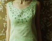 SALE...60s lime oriental COCKTAIL dress with beaded front - medium