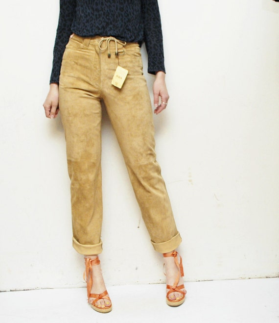 o n  h o l d SALE...90s deadstock sand beige SUEDE pants. skinny leather trousers - xs, small