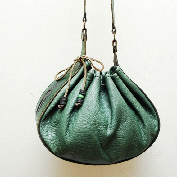 70s boho green leather DRAWSTRING bag. hippie purse