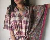 Raspberry plaid Short Cotton Kaftan - Perfect gift for her