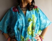 Blue Multicolor Floral kaftan - Perfect long dress, beachwear, spa robe, make great Christmas, Valentine Day, Anniversary or Birthday gifts