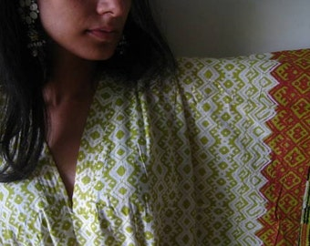 Cream and Green with a lovely border Kaftan - Perfect as a long dress, loungewear Kaftan, beachwear, spa robe, for to be mothers and more